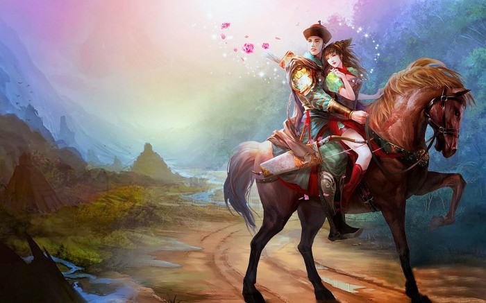Asian-lovers-riding-horse-romantic-paintings-wallpapers